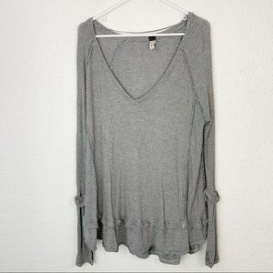 Free People Gray Thermal Oversize Long Sleeve Med